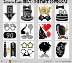 90th Birthday Party Printable Photo Booth Props. Black and