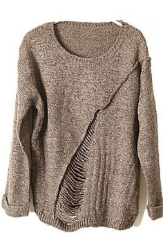 Khaki Long Sleeve Ripped Tassel Loose Sweater - Sheinside.com