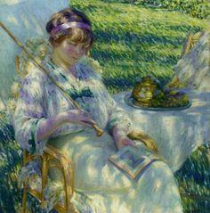 Senhora lendo ao sol, 1914  Louis Ritman (EUA, 1889-1963)  óleo sobre tela, 90 x 90 cm  Coleção Particular
