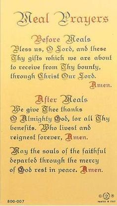 Before And After Meal Prayer