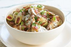 Make potato salad extra special by roasting the spuds and adding bacon to the mix.