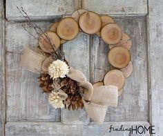 Wood slice wreath - so cute!
