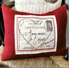 Looking for some Valentine's Day Pottery Barn Knock-Offs? Well then check out these Valentine's Day Pottery Barn Knock-Off DIY Projects! Valentine Day Love, Valentine Day Crafts, Valentine Decorations, Valentine Pillow, Valentine Ideas, Funny Valentine, Sewing Pillows Decorative, French Pillows, Costura Diy