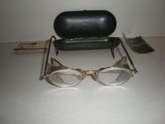 Steam Punk Industrial Magnifying Safety Glasses Bausch & Lomb with Original Metal Case & Paperwork - http://raise.bid/store/collectibles/industrial-magnifying-paperwork/