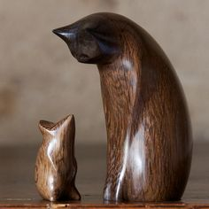 carved wooden cat and mouse bog oak