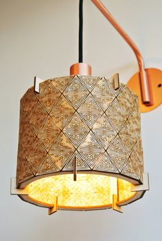 Beautiful Wooden Laser cut Plywood Lampshade in small (Large also available)  The face is made from one single piece of plywood with a triangular motif that leaves a wonderful light pattern. Can be hung or can be used on a stand base. The fitting size is E14 (standard size, 3cm diameter) However if you would like a larger E27 Fitting (4cm diameter) just let me know.  These are made to order, so please allow two working days for completion.  17cm diameter x 15 cm height, Lamp shade only.  All…