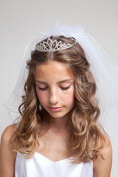 Flower Girl Dresses - Communion Dresses - Flower Girl Dresses Discount Cheap Designer Dressforless - Crown- KCV54 Rhinestone with full veil