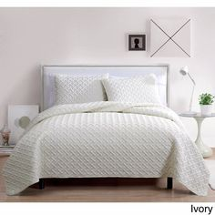 Ivory Full/Queen Nina Embossed 100% Polyester 3-piece Quilt Set Light Soft Feel #VCNY #Contemporary