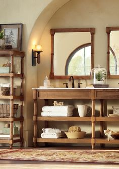 Weather oak and an open shelving bath vanity. HomeDecorators.com