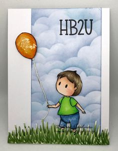 Birthday card using baby and balloon digital stamp #kindacutebypatricia #digitalstamps #copicsketchmarkers