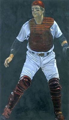 """Carlton Fisk of the Boston Red Sox in """"Pudge in Red"""" by Susan Miller-Havens."""