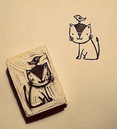 Cat and bird by karen vandelaer - Inspiration for carving stamps