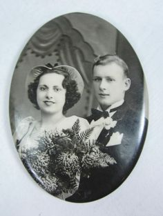 Antique Celluloid Hand Pocket Mirror Wedding Picture Bride & Groom