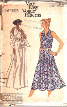 1970s Vogue 7108 Very Easy Misses Sleeveless Sun Dress and Stole Pattern  Womens Vintage Sewing Pattern Size 8 10 Bust 31 32 UNCUT f4d3a2f23