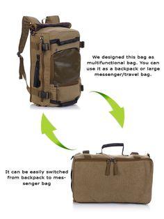 Multifunctional Weekender Convertible Outdoor Travel #Canvas #Backpack