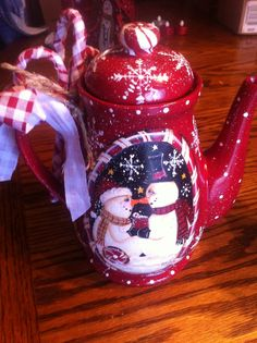 Snowy Kisses and Sweet Winter Wishes teapot, designed and painted by Lisa Stuckey, 2013