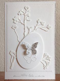 """Ostern, """"Bloomimg Branch"""" von Memorybox, """"Butterfly Border"""" von Simon Says Stamp, """"Eier"""" von Sizzix, """"alles Liebe"""" von Alexandra Renke"""