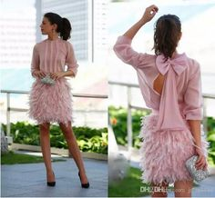 vintage blush Feather Short Prom Dresses 2017 Pink Long Sleeves Open Back With Bow dubai arabic Evening Gowns Cocktail Party Dresses Prom Dresses Long Pink, Prom Dresses 2017, Plus Size Prom Dresses, Club Dresses, Sexy Dresses, Short Dresses, Pageant Dresses, Dress Prom, Cocktail Dresses With Sleeves