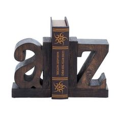 EC World Imports Artisan Hand Carved A to Z Wooden Bookends