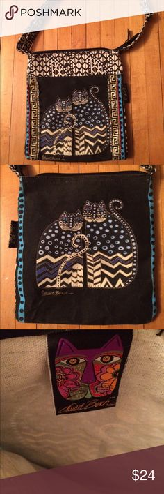 Laurel Burch Crossbody Purse Great vintage condition with working zipper. Very clean no stains. Sparkle and bead detail. Measures approximately 10.5 X 9.5 inches. Laurel Burch Bags Crossbody Bags