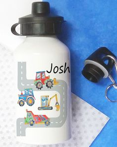 personalised water bottle Personalized Water Bottles, Personalized Gifts, School Water Bottles, Digger, School Lunch, Gifts For Boys, Drink Bottles, Drinks, Sports Bottles