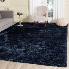 Rug from Toronto Shag collection. From the Toronto Collection by Safavieh, is a plush navy blue shag rug hand-tufted with thick, luxurious yarns for incredible softness underfoot. Bedroom Carpet, Living Room Carpet, Rugs In Living Room, Living Room Decor, Bedroom Decor, Blue Shag Rug, Blue Area Rugs, Navy Blue Area Rug, Devon