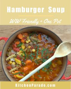 Hamburger Soup, more comfort food ♥ KitchenParade.com, a hearty meat and vegetable soup, laced with noodles. Weight Watchers Friendly. High Protein. Great for Meal Prep & Feeding a Crowd. Beef Recipes, Soup Recipes, Chicken Recipes, Mother Recipe, Hamburger Soup, Pasta Soup, Healthy Food, Healthy Recipes, Frozen Vegetables