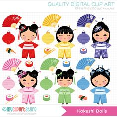 This bright KOKESHI DOLLS clipart set includes japanese / chinese dolls with lanterns, flowers, sushi, chop sticks and each have their own