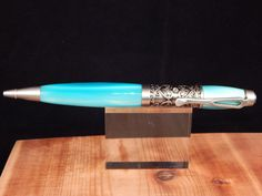 Filibella Twist Ballpoint Pen with Turquoise Pearl Acrylic by ProvincialMills on Etsy