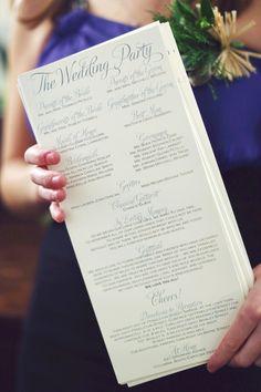 pretty wedding program - wording of some items (i.e. gratitude)