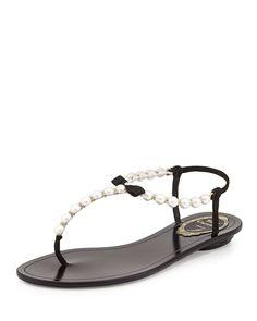 Rene Caovilla Pearly & Crystal Thong Sandal, Black