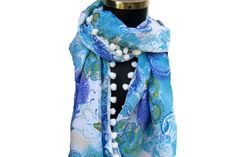 Multicolored scarf /tassel  scarf/ polyester  scarf/ gift  scarf /  abstract print  scarf/ /  gift ideas.