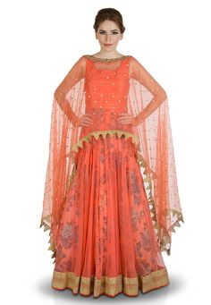 Abaya Style Net Suit In Peach