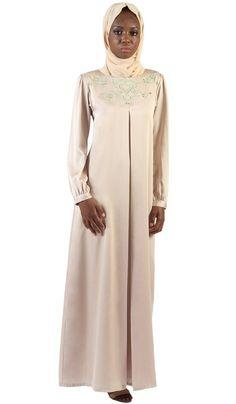 56e5358612d8 Jasmin Embroidered Formal Long Sleeve Modest Evening Dress - Beige Gold
