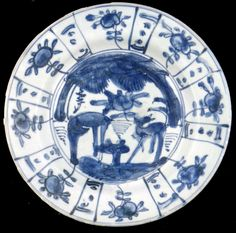 A very nice, intact, plate with crispy contrasty,  cobalt decoration.  Resonance sound when taped is high pitch - MING DYNASTY PORCELAIN  from The Wanli (c. 1625) Shipwreck