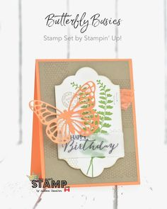 handmade birthday card from nice people STAMP! by Allison Okamitsu . luv the coral with kraft . Paper Butterflies, Butterfly Cards, Happt Birthday, Handmade Birthday Cards, Handmade Cards, Card Maker, Card Sketches, Nice People, Stampin Up Cards