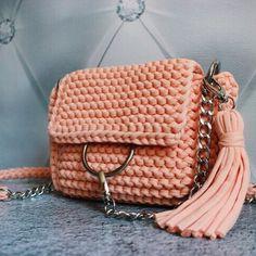 Bag Crochet Bag Bag of knitted yarn Handmade bag Stylish bag Knitted bag Lady is bag Crossbody bag Peach bag Chloe Bag whis ring Clutch Crochet Handbags, Crochet Purses, Crochet Bags, Knitted Bags, Diy Bag Making, Crochet Wallet, Recycled Yarn, Diy Purse, Chloe Bag