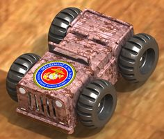 Marines - wind up self propelled musical car, contains a custom designed mechanical musical movement.