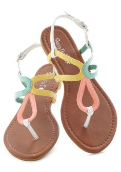 Meeting of the Minds Sandal - Multi, Beach/Resort, Pastel, Summer, Flat, Yellow, Pink, White, Mint, Cutout, Casual, Colorblocking, Spring, Faux Leather