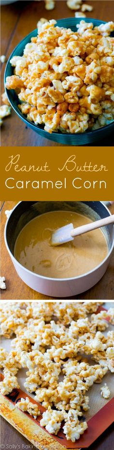 20 minute salty, sweet, sticky, and easy-to-make Peanut Butter Caramel Corn. You won't be able to put this stuff down!