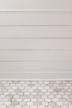 carrara hex tile with delorean gray grout (simple grout from HD) Girls bathroom? Upstairs Bathrooms, Bathroom Floor Tiles, Downstairs Bathroom, Laundry In Bathroom, Bathroom Colors, Bathroom Ideas, Master Bathroom, Shower Floor, Shiplap Bathroom