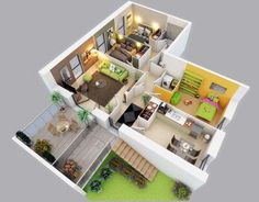 3D Modern Small House Plans Under 1000 sq ft Three Bedroom