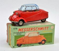 Description:Bandai (Bandai) 579 Messerschmitt tinplate friction car, red with blue tinted windows and bright beautiful lithographed interior (E box E-M) 20 cm long