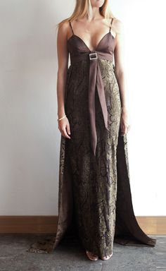 Egon von Furstenberg Brown And Gold Satin And Jacquard Dress | VAUNTE