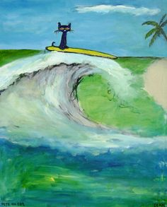 Surfer dude Pete the cat by James Dean Pete The Cat Art, Black Cat Art, Black Cats, Surfer Dude, Cat Drawing, Beautiful Cats, Cool Cats, Cute Art, Illustration Art