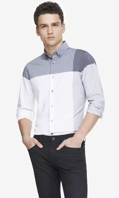 EXTRA SLIM COLOR BLOCK SHIRT - GRAY from EXPRESS