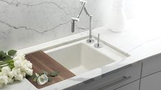 Kholer Indio sink, a cool concept: and undermount sink with faucet located on the right hand side $799 (also available with two bowls $899)