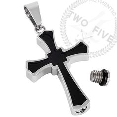 Cremation Jewelry Black Cross Pendant Keepsake Memorial Urn Necklace Funnel #28