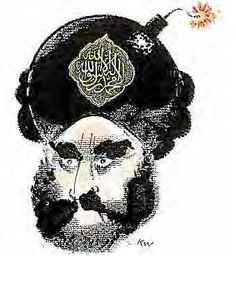 This European political cartoon of a Muslim man painted as a suicide bomber created huge controversy in Europe.. This is an example of satire used in a single-panel comic.  Jyllands-Posten Muhammad cartoons controversy - http://en.wikipedia.org/wiki/Jyllands-Posten_Muhammad_cartoons_controversy