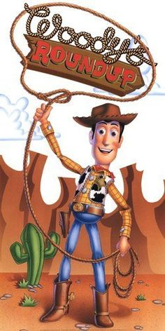 (12x24) Toy Story Movie Woody Roundup Disney poster by Poster Revolution from amazon.com This would be a nice greeting for guests or over the food if you aren't into creating backgrounds.